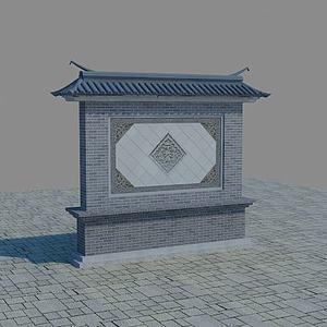 3d仿古照壁影壁墙模型