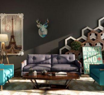现代美式沙发茶几组合