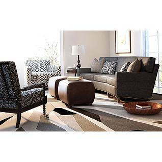 现代美式客厅沙发椅子组合3d模型3d模型
