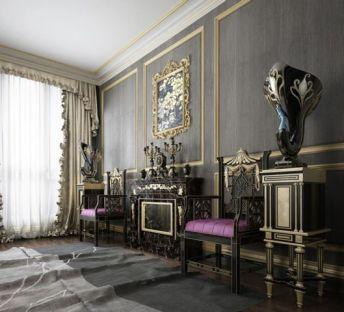 新古典奢华椅子角几画框