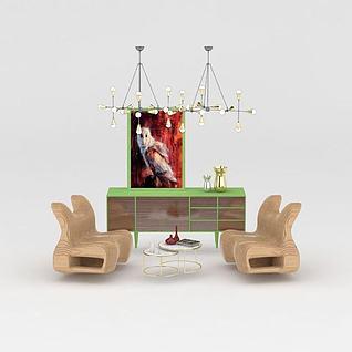 现代创意柜子吊灯纸椅组合3d模型3d模型