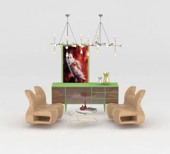 现代创意柜子吊灯纸椅组合