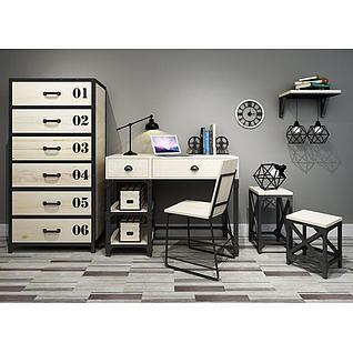 工业风书桌椅编码柜组合3d模型3d模型