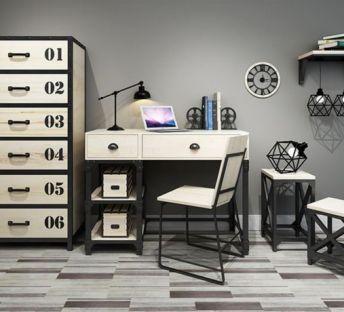 工业风书桌椅编码柜组合