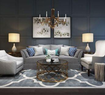 古典客厅沙发茶几吊灯组合