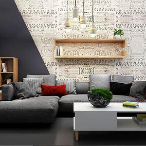 3d现代风格<font class='myIsRed'>转角沙发</font>茶几模型