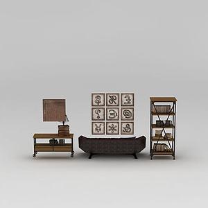 3d工業風多人沙發書架組合模型