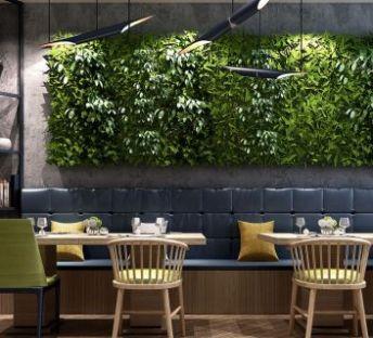 现代餐厅桌椅植物墙