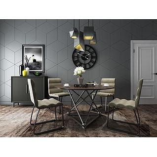 现代餐桌椅柜子组合3d模型