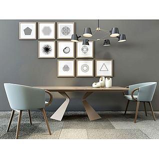 北欧创意餐桌椅照片墙组合3d模型