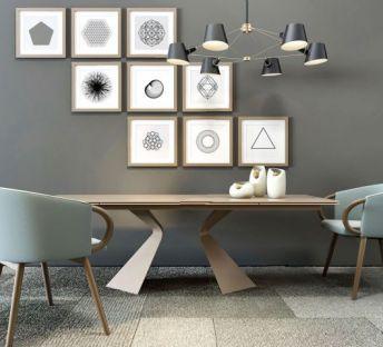 北欧创意餐桌椅照片墙组合