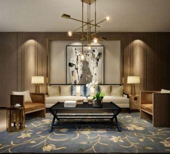 新中式沙发茶几创意吊灯组合