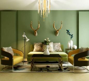 现代创意吊灯沙发茶几