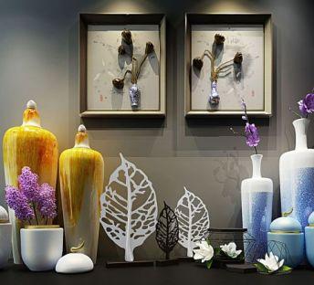 现代艺术花瓶莲蓬立体画组合