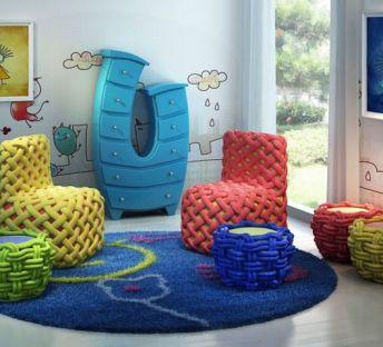 创意儿童编织椅子儿童柜组合