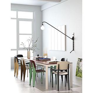 创意简约桌椅组合3d模型