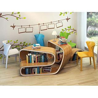 创意休闲书桌椅3d模型