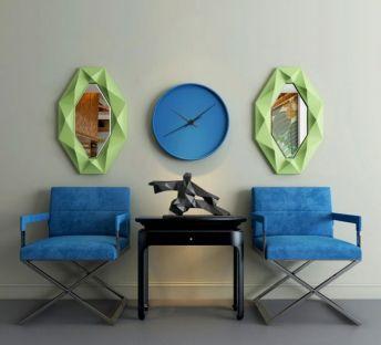 现代蓝色单椅墙饰组合