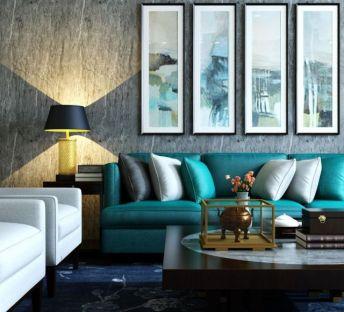 新中式客厅沙发茶几组合