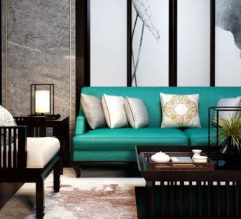 新中式客厅沙发椅子组合