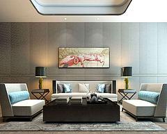 新中式沙发茶几台灯组合模型3d模型
