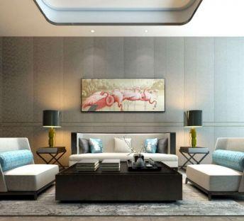新中式沙发茶几台灯组合