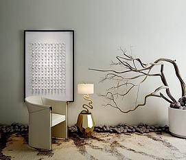 新中式沙发干枝枯树花艺组合3d模型