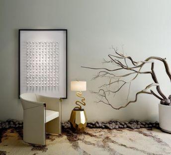 新中式沙发干枝枯树花艺组合