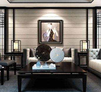 新中式沙发椅子茶几组合