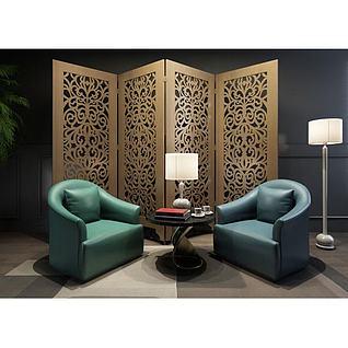 古典单人沙发隔断组合3d模型