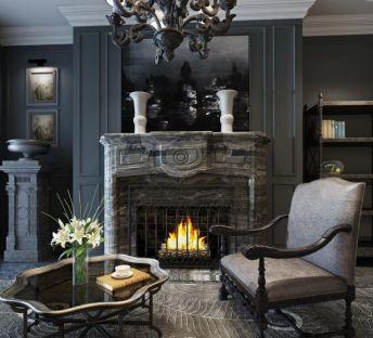 古典奢华休闲椅壁炉组合