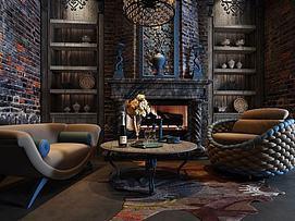 古典休闲沙发壁炉组合3d模型