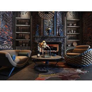 古典休闲沙发壁炉组合3d模型3d模型
