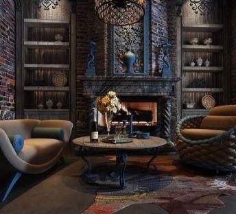 古典休闲沙发壁炉组合