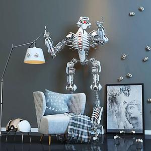 3d休闲沙发机器人玩具组合模型