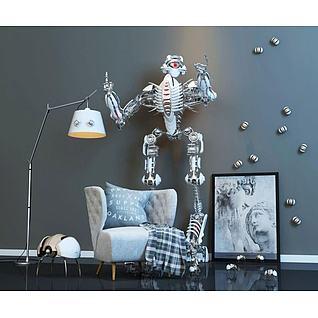 休闲沙发机器人玩具组合3d模型