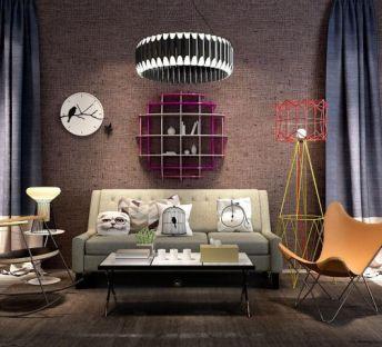 工业风墙架沙发单椅组合