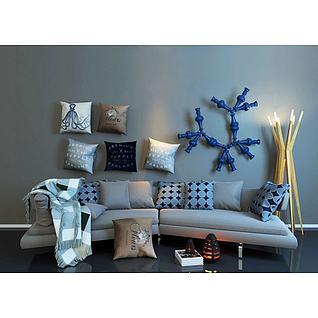 现代沙发工业风水管饰品组合3d模型