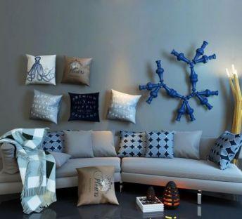 现代沙发工业风水管饰品组合