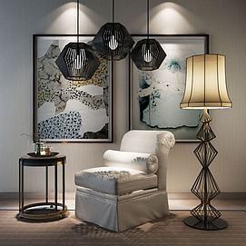 中式单人沙发椅吊灯组合3d模型