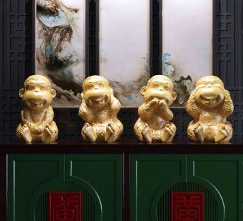中式四不猴雕塑