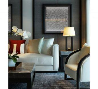 中式沙发椅台灯组合