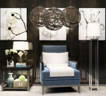 中式休闲椅灯具组合
