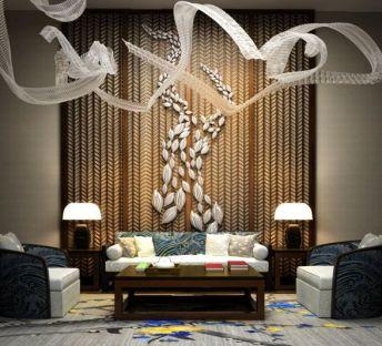 中式沙发茶几飘带吊灯组合