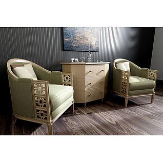 新中式休闲沙发边柜组合3d模型