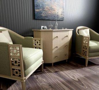 新中式休闲沙发边柜组合