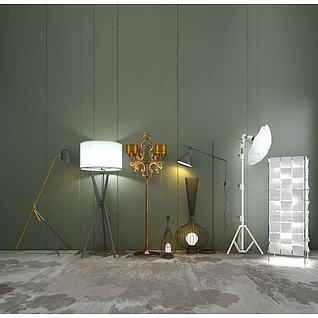 创意落地灯组合3d模型