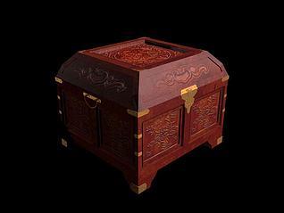 木雕方盒3d模型