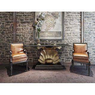 工业风端景台皮椅组合3d模型