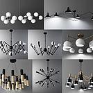 北欧现代吊灯组合模型